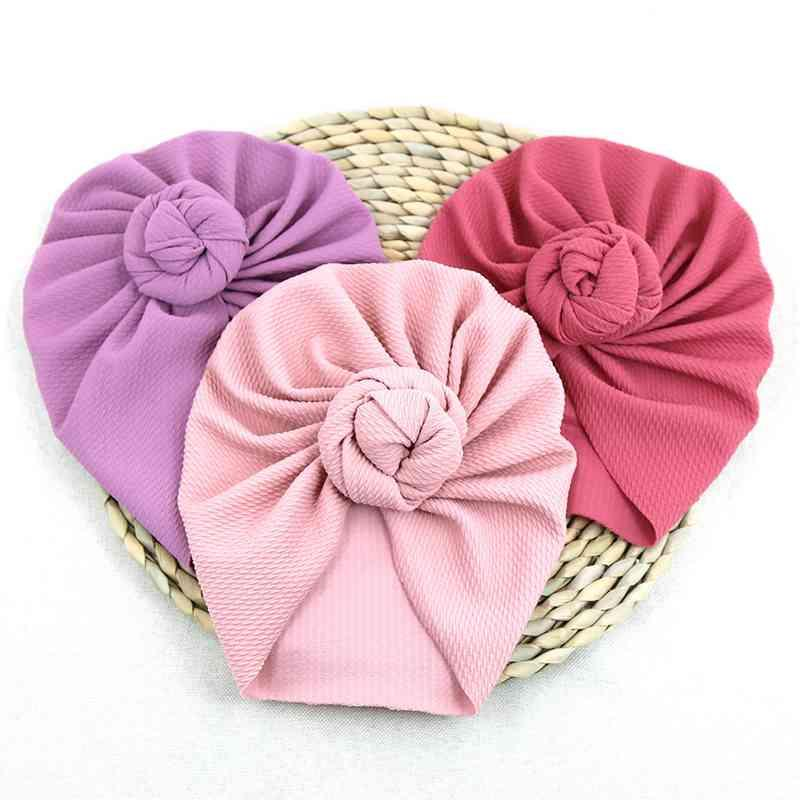 Cute Baby Hat Pleated Top Knot Autumn Winter Kids Girl Bonnet Hat Solid Color Warm Soft Infant Toddler Beanie India Cap