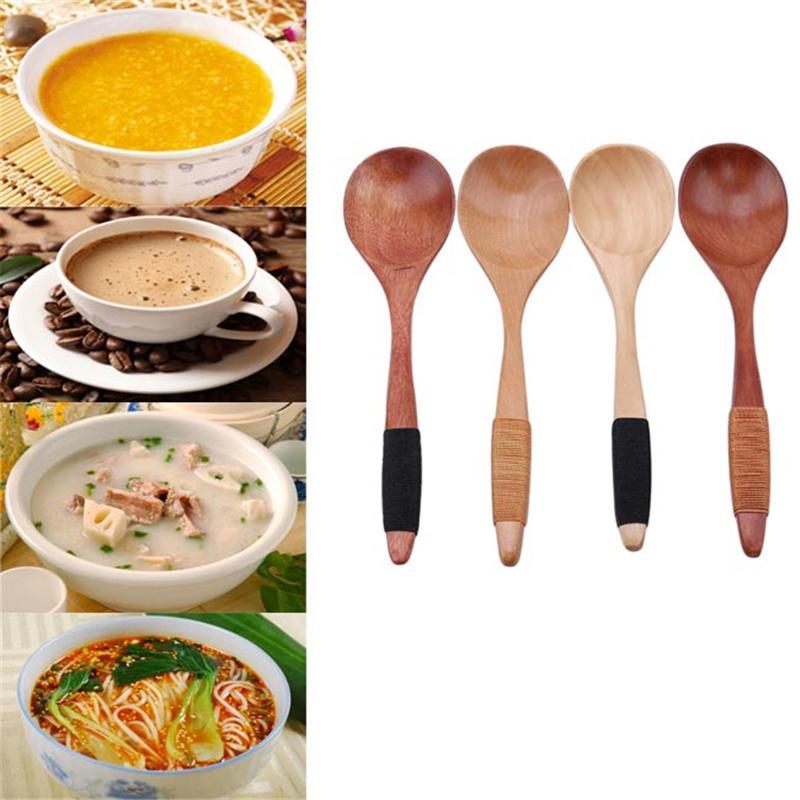 Деревянные Суп Мед Ложки Ложки Питание Посуда Кухонные принадлежности Rice Ложка таблицы экологически чистых подарков