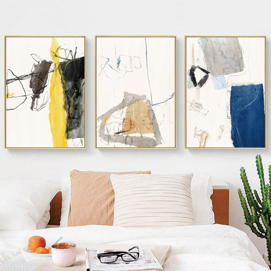 Плакат Абстрактный желтый синий Раздел граффити черные линии полотнами Плакаты и печать Главная Декоративные картинки для гостиной