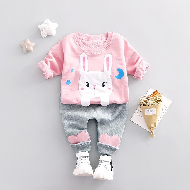 Детская одежда для маленькой девочки одежда комплекты спортивной трексуита кролика печатает футболку + брюки 2 шт. Детская одежда девушки 0-4 года