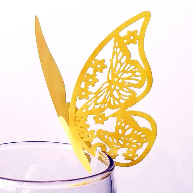 Event & Party Party & Holiday DIY Decorations 10pcs/lot Paper Laser Cut Butterfly Place Wine Glass Cup Card For DIY Birthday Wedding