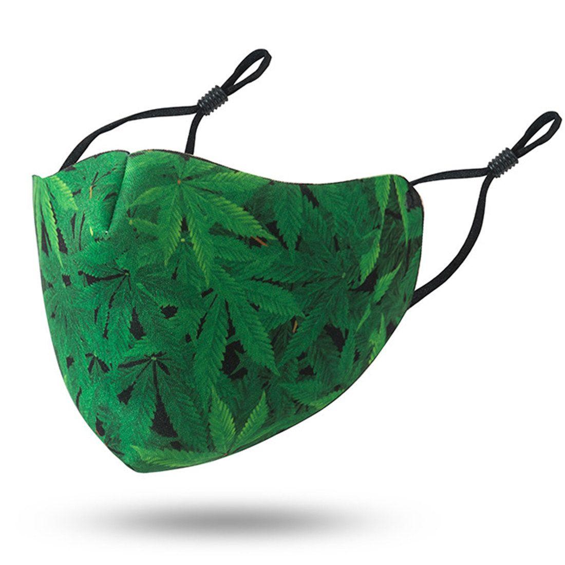3D AHE209 돌고래 디자이너 얼굴 마스크 재사용 재미 코 마스크 Mascherine 패션 빨 천으로 녹색 잎 별이 빛나는 하늘 성인 마스크 카모