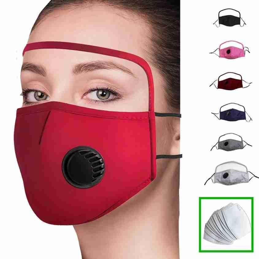 DHL 2 Em uma máscara facial com olho Escudo Dustproof lavável Algodão Algodão válvula Bicicleta reutilizável da máscara protectora Escudo cara de protecção com filtro