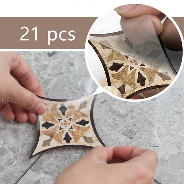 Wall 21pcs Self Adhesive PVC Ceramic Tile Stickers Waterproof Wall Sticker Art Diagonal Floor Stickers Kitchen Decorative Sticker