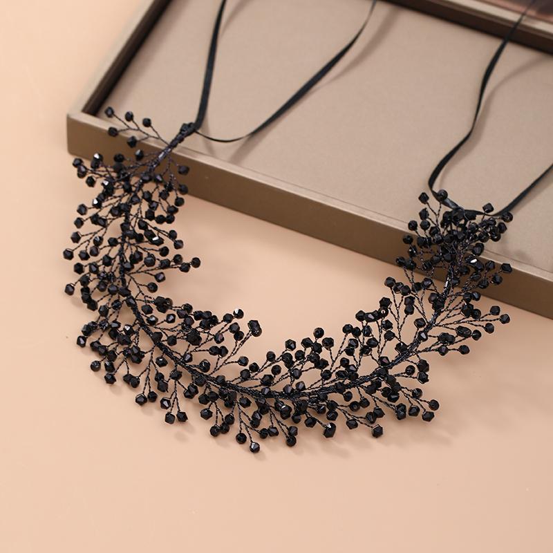 AiliBride nero di vite fascia di cristallo copricapo da sposa ornamenti diadema di Hairband dei capelli MX200727 Jewelry