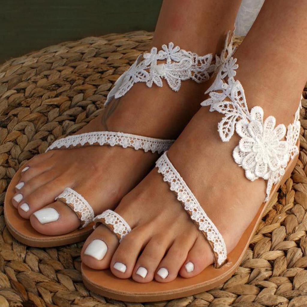 JAYCOSIN Mulheres Designer Slippers Sandals White Lace recorte Plano de linho Corda Platform Feminino Aberto à frente deslizamento-na sapata Chinelos Verão