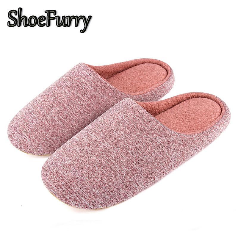 ShoeFurry Женщины Хлопок Обувь Главная Тапочки Мягкие Bottom Mute шлепанцы женщина Плюшевые Крытый обувь зима Женский меховые