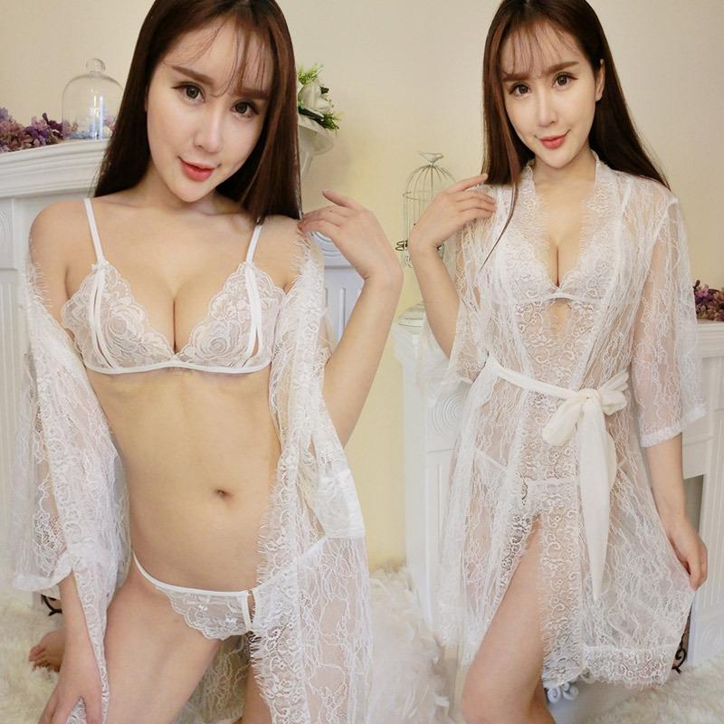 Nouveau pyjama haut de gamme sous-vêtements sexy pyjama dentelle frangée peignoir chemise de nuit entrejambe sous-vêtements à trois points
