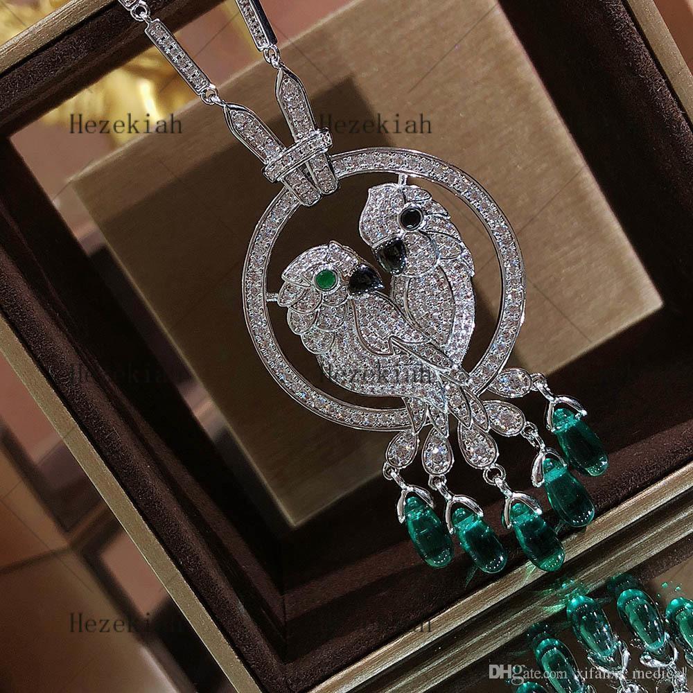 Ezechia lusso collana pappagallo signore di lusso di alta qualità Anello Donna festa da ballo e signore temperamento intarsiati con zircone AAA