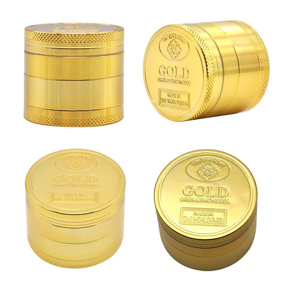 Heiße verkaufende goldene Herbal Grinder 4 Stück Zink-Legierung Metall Grinder Dia 40mm Spice Cracker Tabak Metall Grinder Gewürz Cracker Tabak
