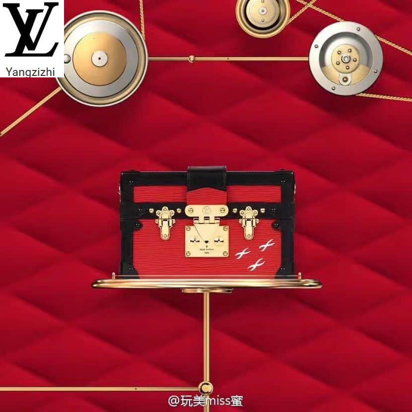 Yangzizhi New Petite Malle Handbag Red Leather Box Messenger Bag M54651 Handbags Bags Top Handles Shoulder Bags Totes Evening Cross Body