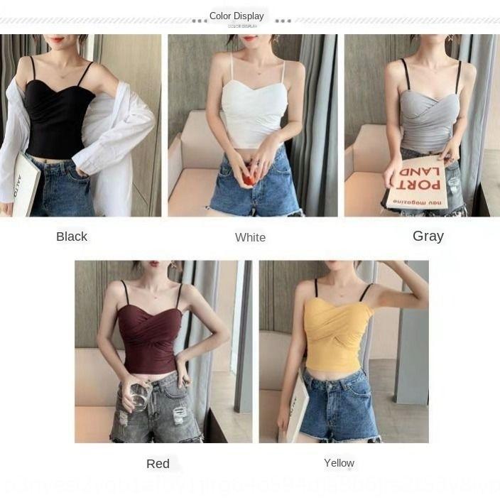 Camisole étudiante coréenne Top Sous le style des sous-vêtements sexy à l'intérieur et à l'extérieur polyvalent usure soutien-gorge retour vers le haut de base long plissé