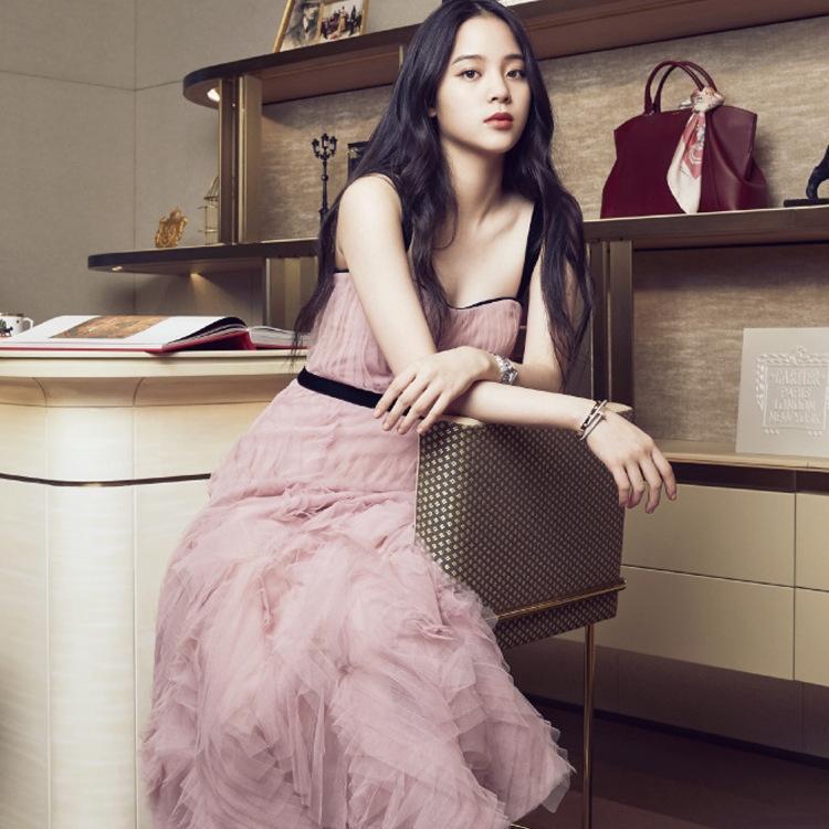 uFktz ptU1v Nana Yuan gaze mesma Estilo primavera 2020 e verão Shanshan com suspender saia estilingue vestir bridesm rosa Reunião Anual suspender