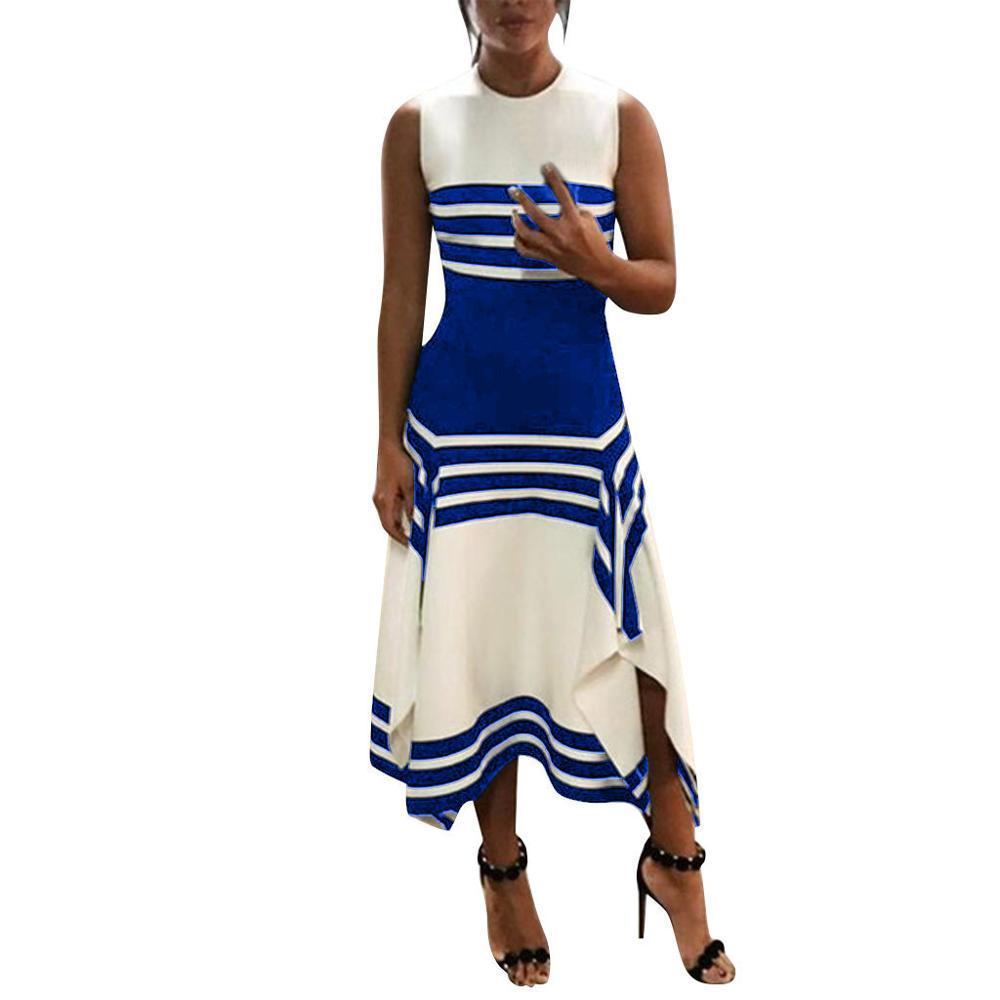 Jocoo Jolee 2020 Robes d'été Femmes Mode Stripe manches col rond Casual Robe Femme Robes irrégulière Midi Party
