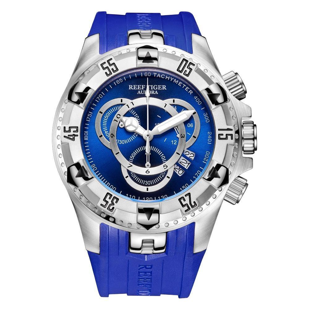 2020 Новый Reef Tiger / RT Все спортивные часы Синий Большой Мода для мужчин водонепроницаемый хронограф часы Relogio RGA303-2 Мужчина для