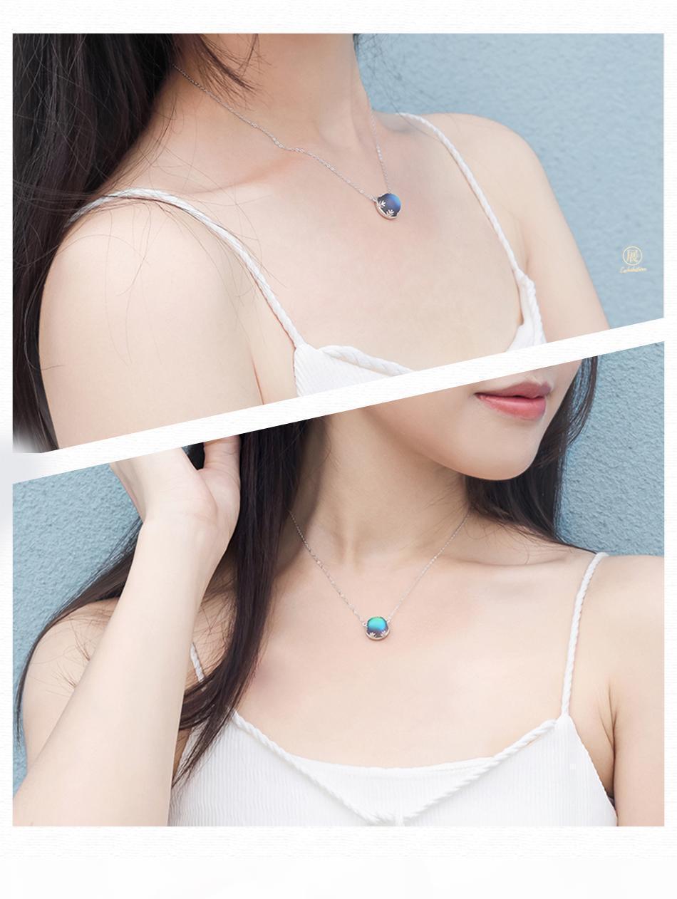 Thaya Aurora Wald Halskette Halo Kristall Edelstein S925 Silber-Skala Licht hängende Halskette für Frauen-eleganten Schmuck