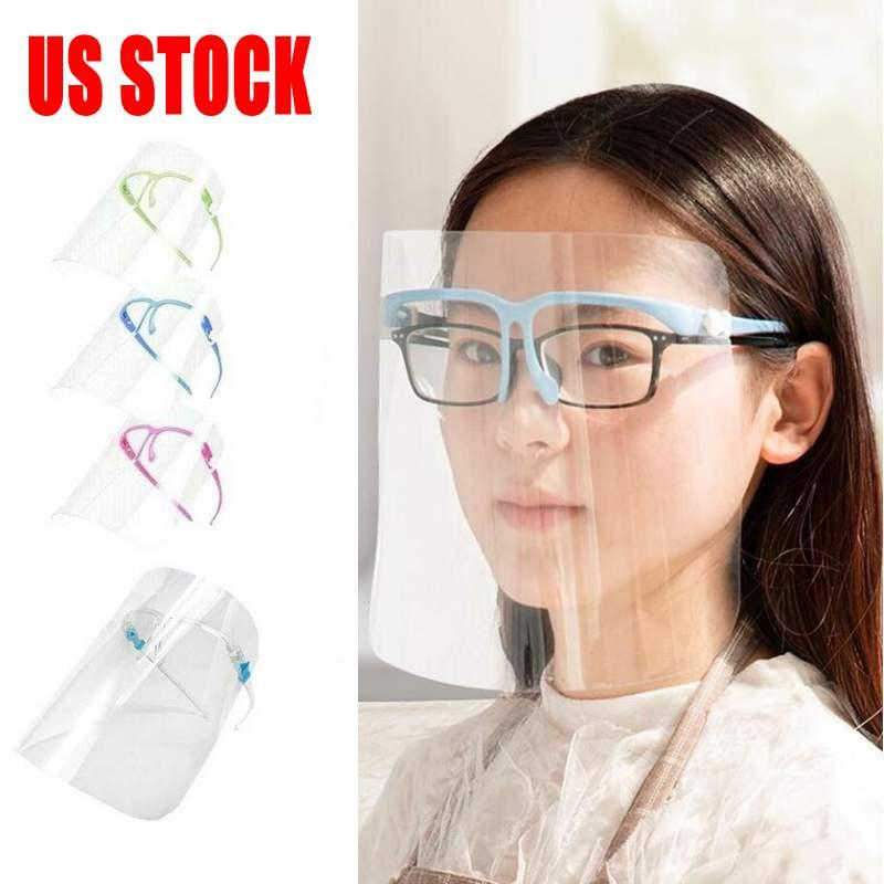 US Stock 10 Pcs PET Face Shield With Glass Holder Safety Oil-Splash Proof Anti-UV Protective Face Cover Transparent Facial Glass Mask