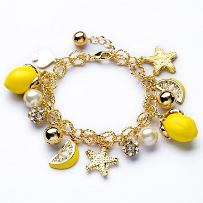 Joyería S1551 caliente de la manera de los granos de la fruta de la pulsera de las estrellas de mar de limón encantos pulsera de cadena