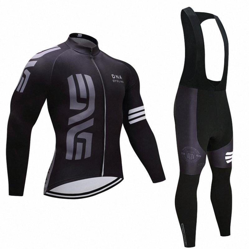 ciclismo ADN Negro EQUIPO invierno jersey 20D cojín de los pantalones de la bici se adaptan Ropa Ciclismo térmica de lana desgaste ciclismo Maillot Bottoms xWuM #