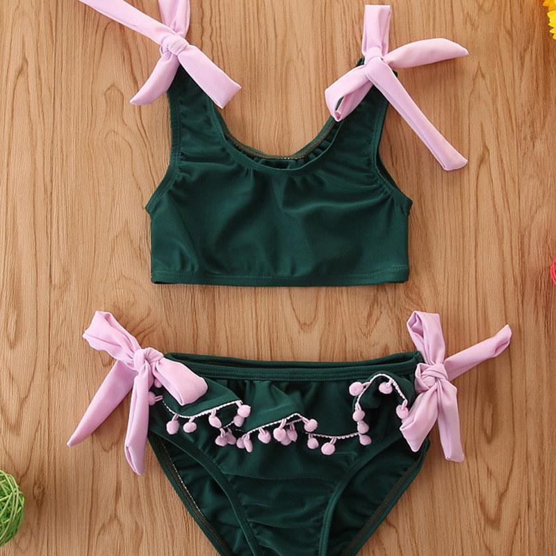 2020 طفل الفتيات السباحة الدعاوى الأطفال kawaii الوردي الأخضر الشرابة حزام ملابس السباحة شاطئ اللباس الطفل قطعتين ملابس بيكيني مجموعة