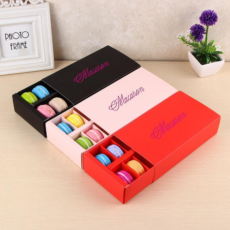Macaron caja contiene 12 Cavidad 20 * 11 * 5 cm Food regalos de embalaje de cajas de papel para fiestas para la panadería de la magdalena Snack-caramelo galleta mollete Caja LX2561