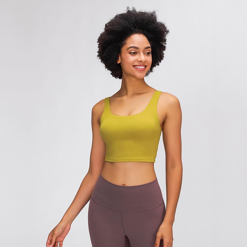 Lu Yoga Sports BH Unregelmäßige Versammlung Stoßdämpfe Nabel Indoor Sport Lu BH Frauen Solide Farbe Fitnessstudio Unterwäsche ROPA Innenraum Körper Shapewear