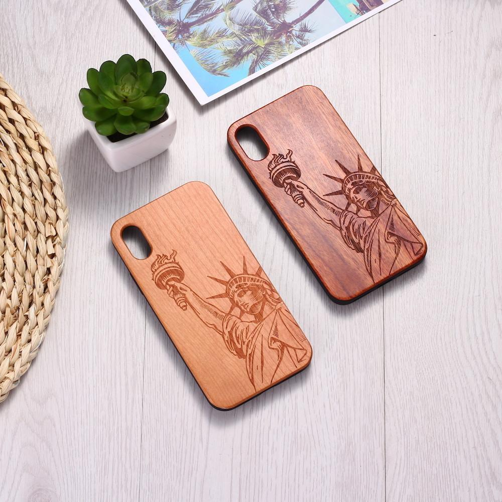 IPhone11Pro personalized wood grain laser carved solid wood all-inclusive anti-drop mobile phone case