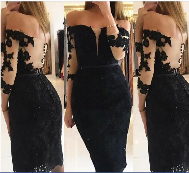Graceful Black Lace Sheath Homecoming Dresses 3/4 Long Sleeve Covered Button Short Prom Dresses Knee Length Cocktail Party Gowns
