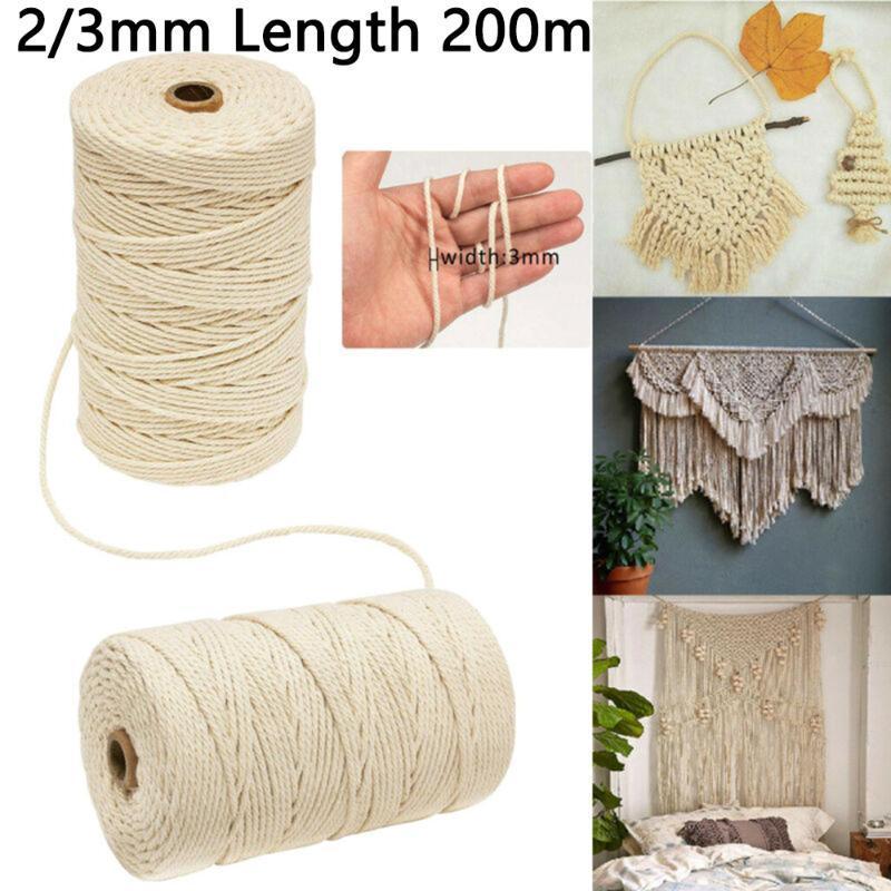 200 m Natur Beige Baumwolle gedrehte Schnur Craft Makramee Artisan String 3 / 2mm Baumwollgarn Make Makramee Pflanze Kleiderbügel
