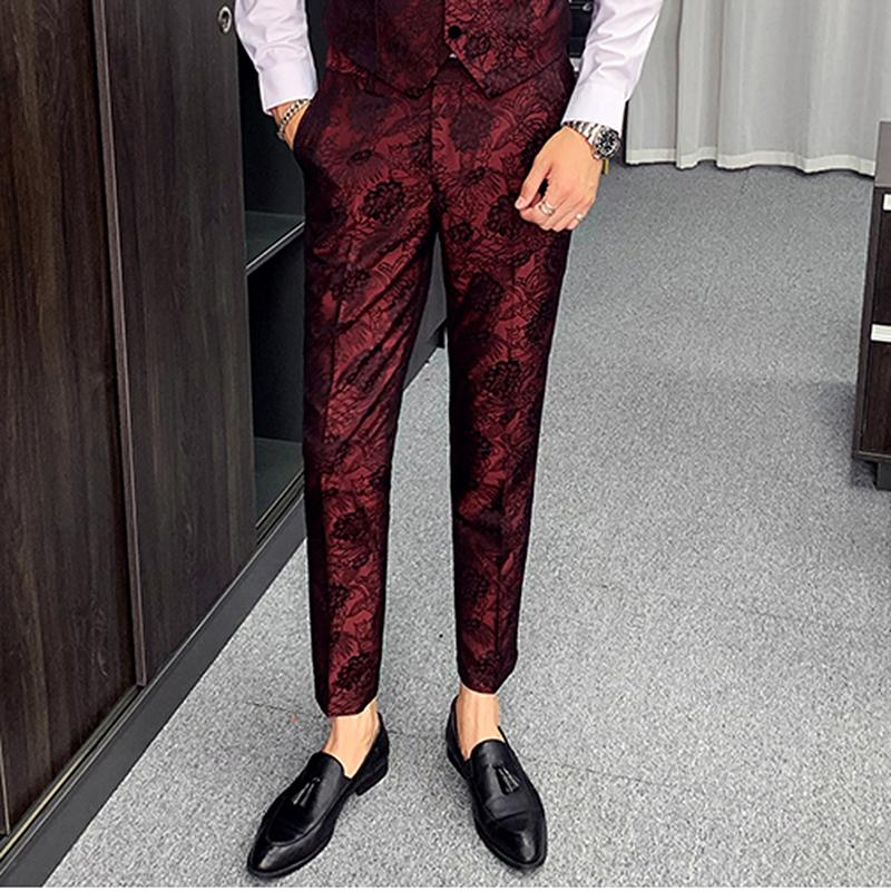 Pantaloni casuali di affari degli uomini 2020 del jacquard pantaloni da uomo Cantante personalità Stage Show abito pantaloni slim fit Mens Vintage