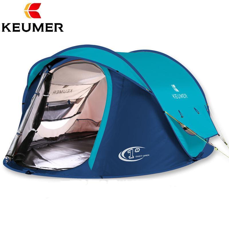 Plage Camping 3-4 personnes Tente grand espace double couche tente automatique ouverte durable des tentes de pêche de voyage professionnel ultra léger