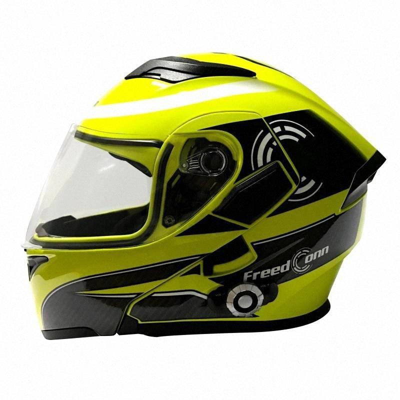 Freedconn BM2 E volle Gesichts-Motorrad-Sturzhelm Blutooth drahtlose 1500 Meter 8 Riders Gruppe Intercom Helme mit FM-Radio-Unterstützung NKNZ #