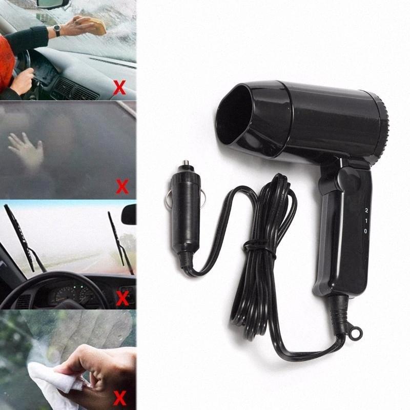 DC12V voiture chaleur Sèche-cheveux 216W portable pliable ventilateur Hot Wind 2 vitesses avec poignée pliante pour voiture fenêtre véhicule de givrer jjqz #