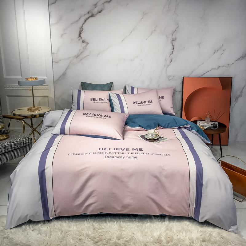 2020 NUEVO 100% algodón Luz Lujo Impreso de lujo Conjunto de ropa de cama Bloqueo de color Conjuntos de tapa de edredones Bed Hoja plana Pillowcases Queen Tamaño 4pcs
