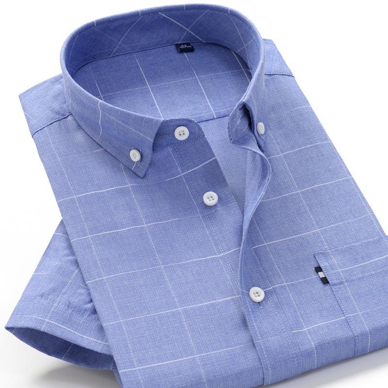 6XL 7XL 8XL 8XL 10XL tamaño grande del verano camisa de rayas de alta calidad del algodón de la manera cómoda suelta camisa de manga corta de los hombres casuales CX200717