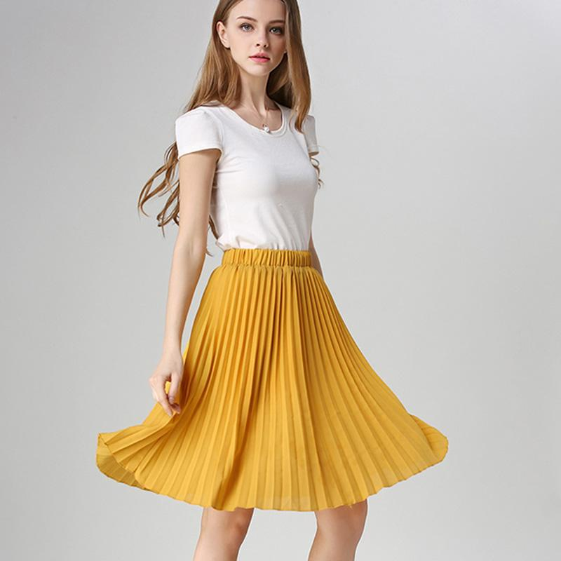 AprilGrass Marken-Entwerfer-Frauen-Chiffon- gefalteter Rock-Weinlese-High Waist Tutu Röcke für Frauen Saia Midi Rokken Sommer-Art-Jupe Femme Rock