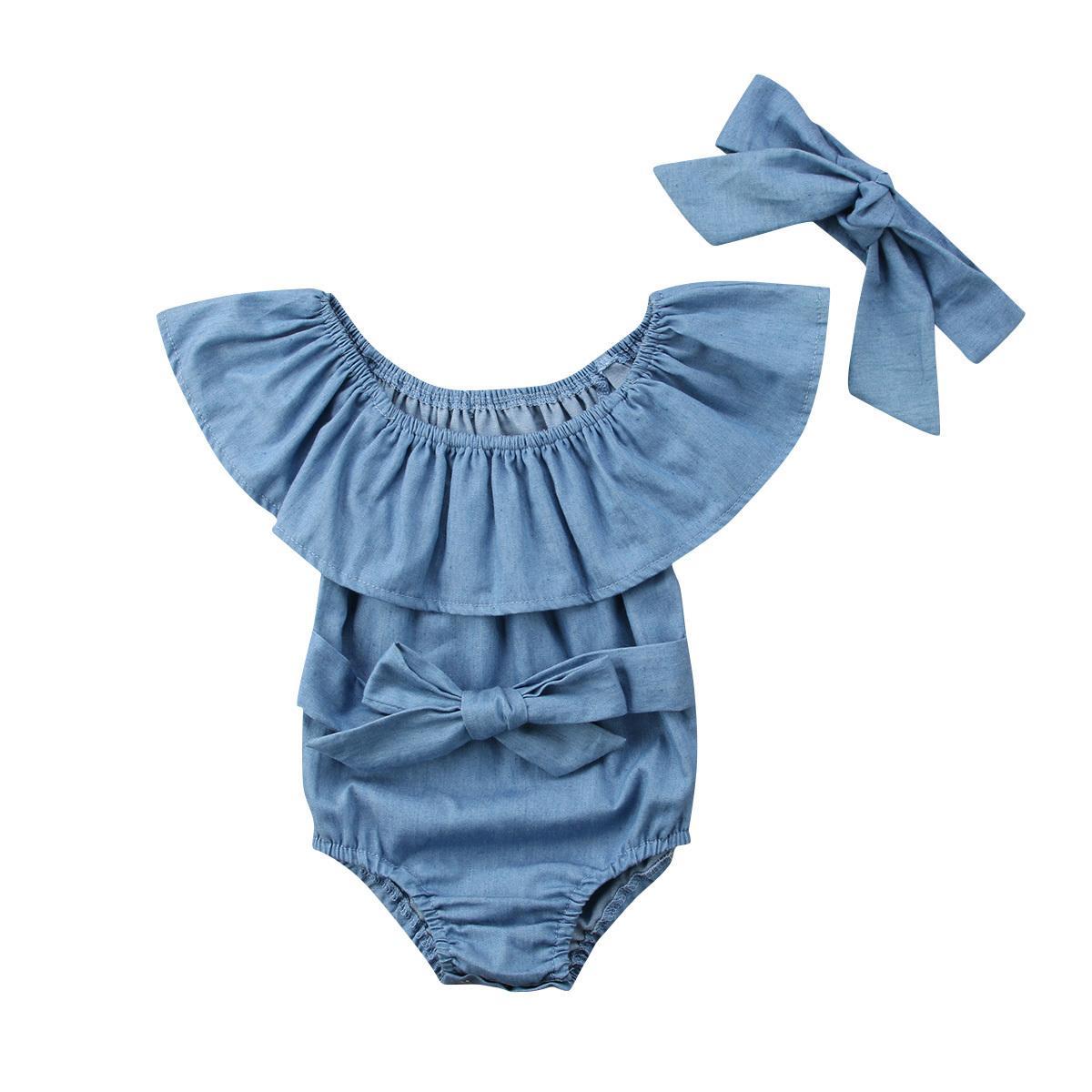 2adet Yenidoğan Çocuk Ruffles Denim Romper Bebek Kız Ön ilmek Jumpsuit Kıyafetler Giyim T200721