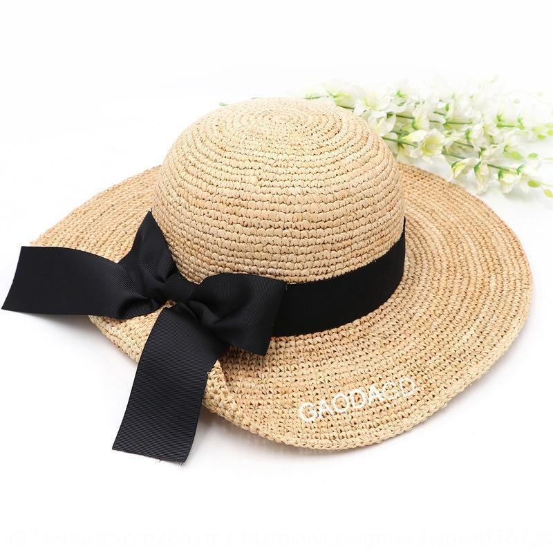 sol grandes de la moda de las nuevas mujeres del borde del arco que ensanchan los viajes a Lady sombrero de paja sombrero de paja de la mariposa