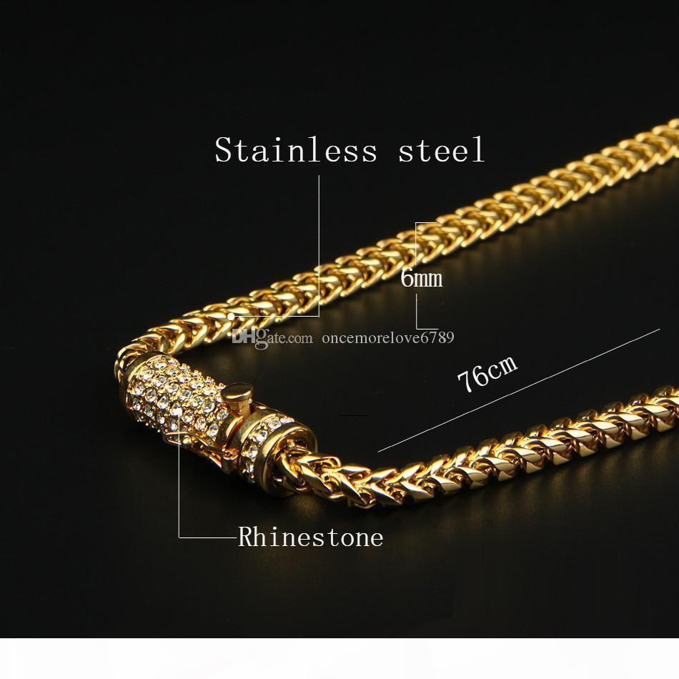 """30"""" Hip Hop Mens collana fuori ghiacciato 6 millimetri Oro acciaio inossidabile cubano Box Chain Link Necklace strass Chiusura"""
