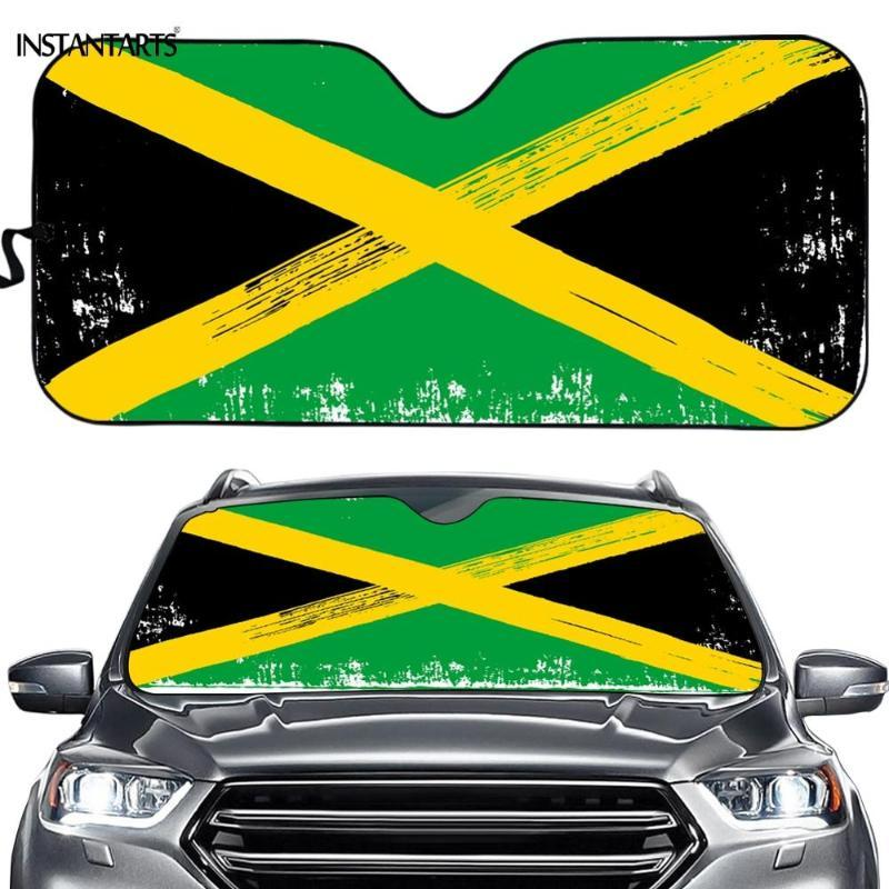 INSTANTARTS Vintage Jamaica Flags Printed Auto Accessories Sunshade Summer Car Protector Sun Shade Visor Car-cover Windsreen