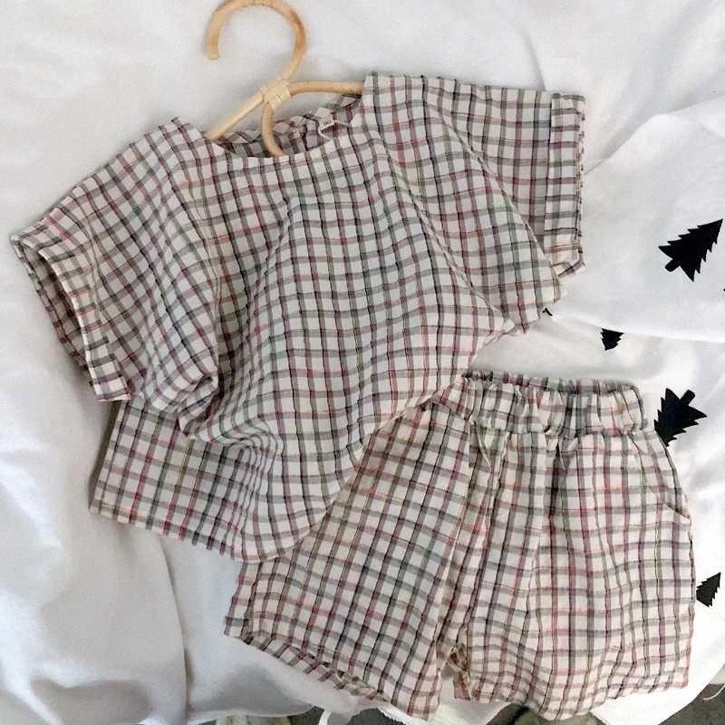2020 2020 Korea-Art Mädchen Junge Plaid Set Baumwollhemd + Rock-Sommer-Kind-Mädchen-Klagen 1 6 Jahre 8zdP #