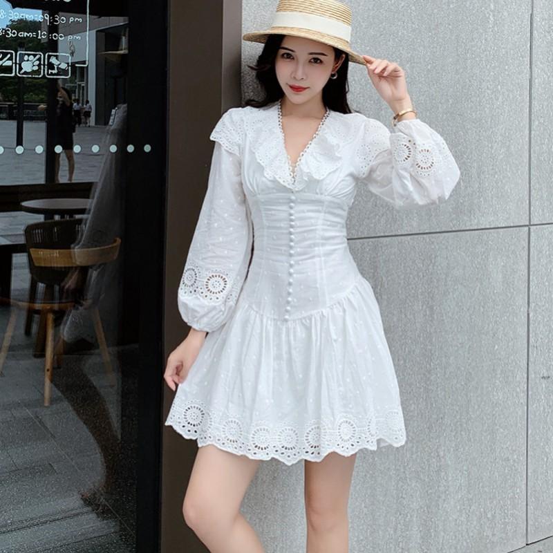 blanc Nouvelle arrivée 2020 piste luxe élégant eau broderie soluble Robe en dentelle évider multi-couches Chic haut de gamme robes vestido