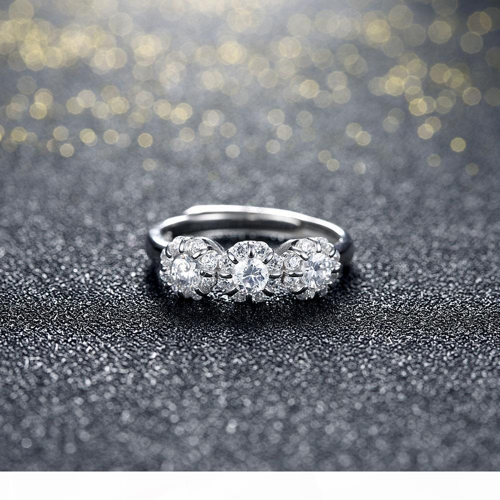 925 Sterling Silver Ring Romantico Grande CZ Diamond Rings nuziale Fedi gioielli Pandora Anello di misura adattabile