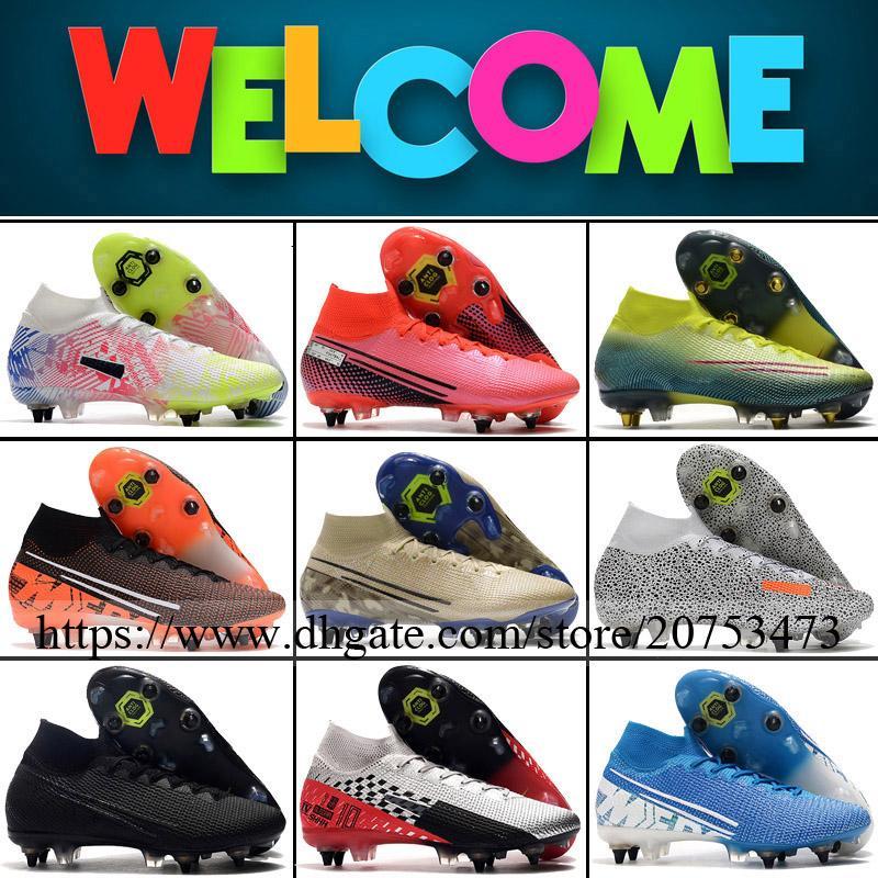 أحذية زئبقي ال superfly السابع النخبة SG المسامير الرجال لكرة القدم لكرة القدم المرابط العليا الكاحل في الهواء الطلق CR7 رونالدو نيمار JR ACC الجوارب أحذية كرة القدم