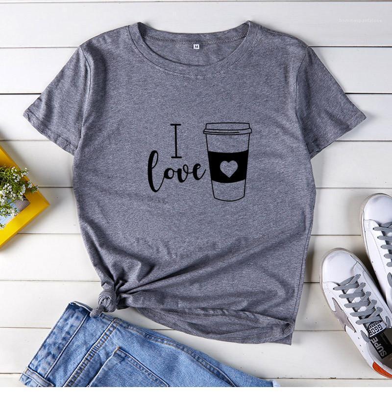 Designer Tshirt Mode I Love Letters Café Tops manches courtes O-Neck Mignon Filles Casual Undershirt Femmes