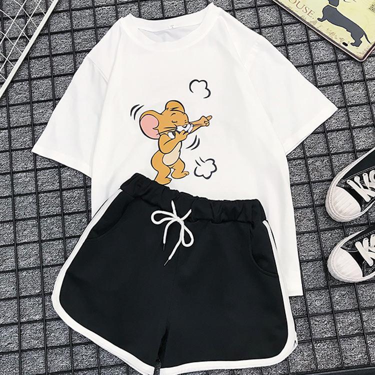 Milinsus 2 pièces / ensembles Survêtement 2020 d'été à manches courtes T-shirt Imprimer Cartoon Casual pour les costumes femmes + Shorts
