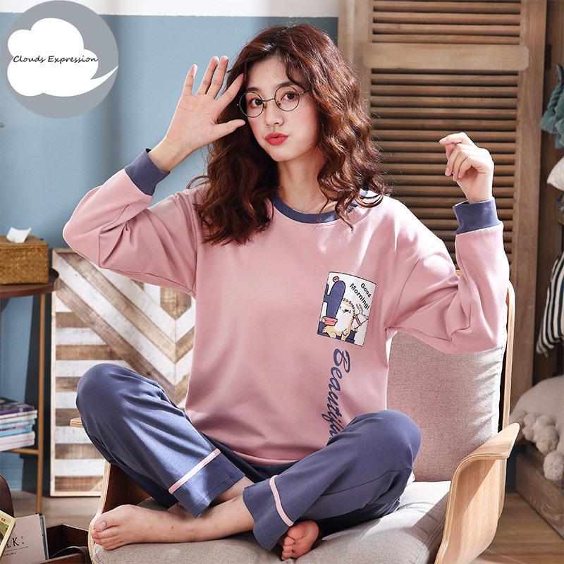 Automne en tricot à manches longues en coton Set Cartoon pyjama femmes Pyjama de nuit en vrac Pijama Mujer Accueil Vêtements costumes longue nuit Y200708