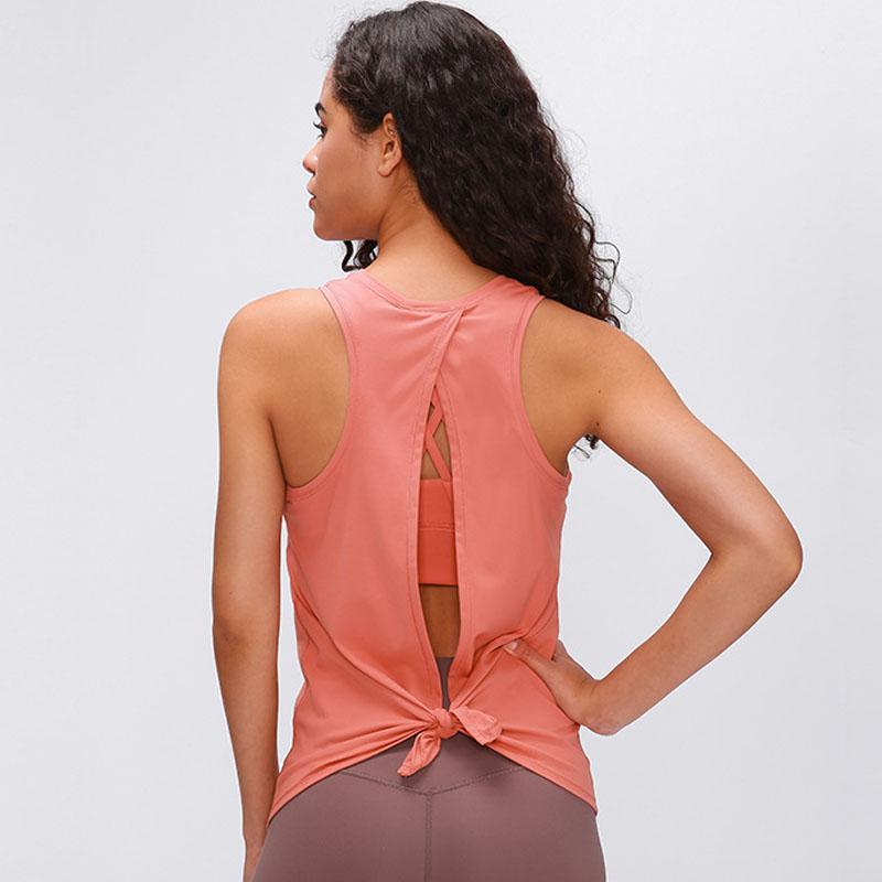 2020 mujeres de nylon suave llanura aptitud del deporte tapas del tanque Loose Fit entrenamiento Ejecución de Espalda Formación Abierta Yoga chaleco de gimnasio ropa 188