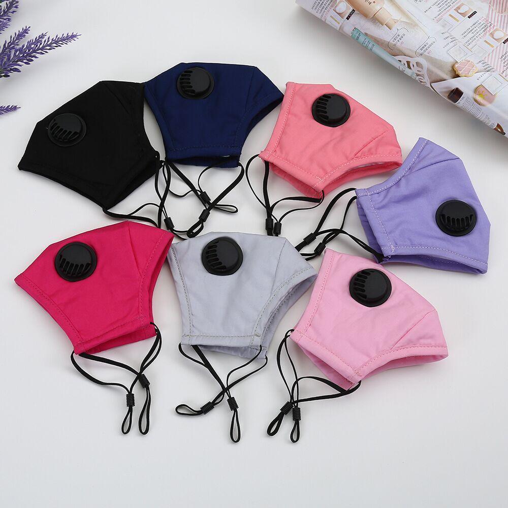 Máscaras reutilizables moda unisex algodón de la cara de la válvula con la respiración boca PM2.5 la máscara anti-polvo reutilizables de tela diseñador máscara máscara
