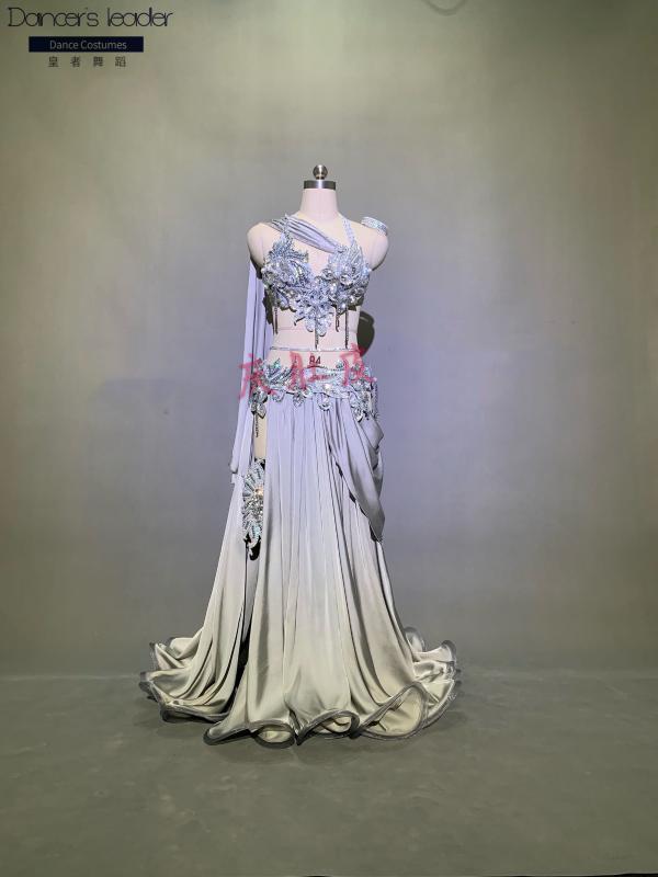 El tamaño de encargo 2020 de alta calidad sujetador de danza del vientre traje de las mujeres danza del traje de desgaste adultos + falda larga